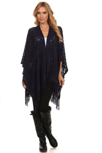 Crochet Knit Open Front Poncho Navy