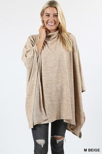 High Neck Poncho Beige