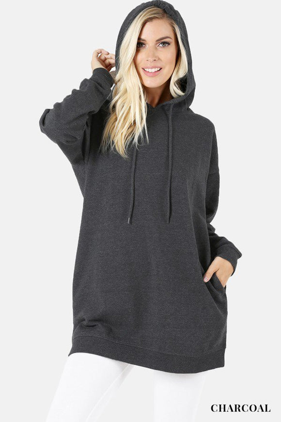 Hooded Sweater With Pockets Plus Charcoal