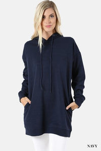 Hooded Sweater With Pockets Plus Navy