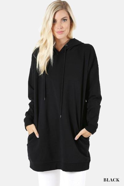 Hooded Sweater With Pockets Black