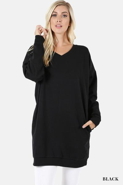 V Neck Long Sweater With Pockets Black
