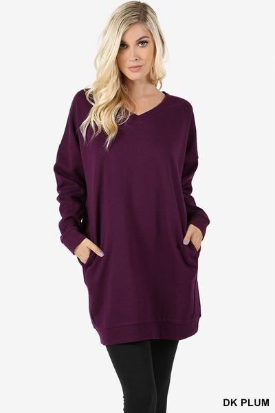 V Neck Long Sweater With Pockets Dark Plum