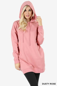 Hooded Sweater With Pockets Dusty Rose