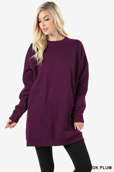 Round Neck Long Sweater With Pockets Dark Plum