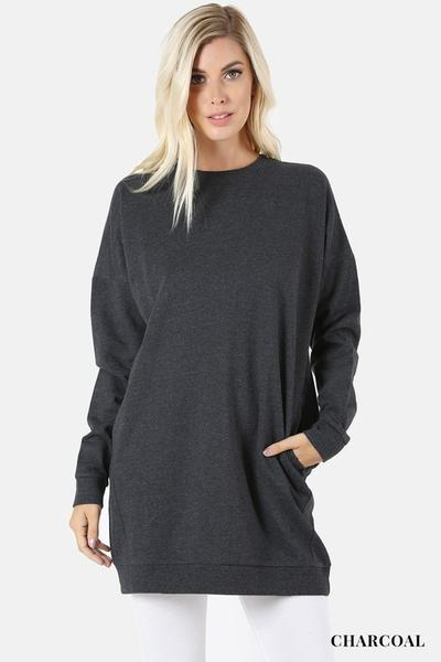 Round Neck Long Sweater With Pockets Charcoal