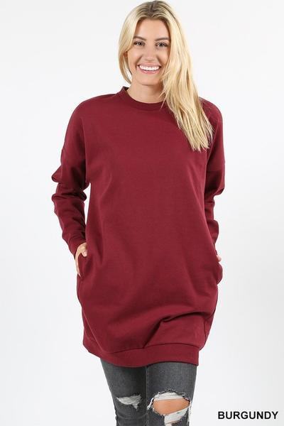 Round Neck Long Sweater With Pockets Plus Burgundy