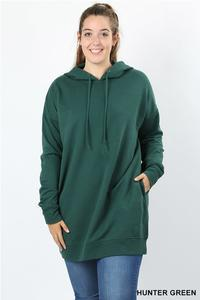 Hooded Sweater With Pockets Plus Hunter Green