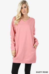 V Neck Long Sweater With Pockets Dusty Rose