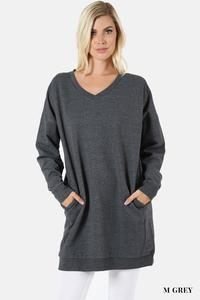V Neck Long Sweater With Pockets Grey