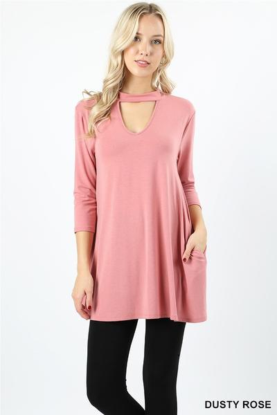 Choker Neck Tunic Dusty Rose