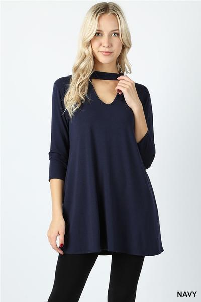 Choker Neck Tunic Navy