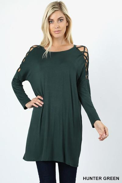 Criss Cross Shoulder Tunic Hunter Green