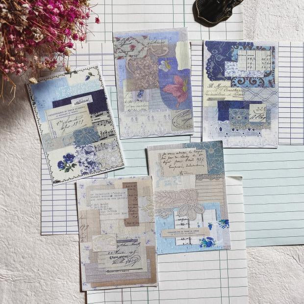 Vintage Blue Collage Paper (Sampler Set)
