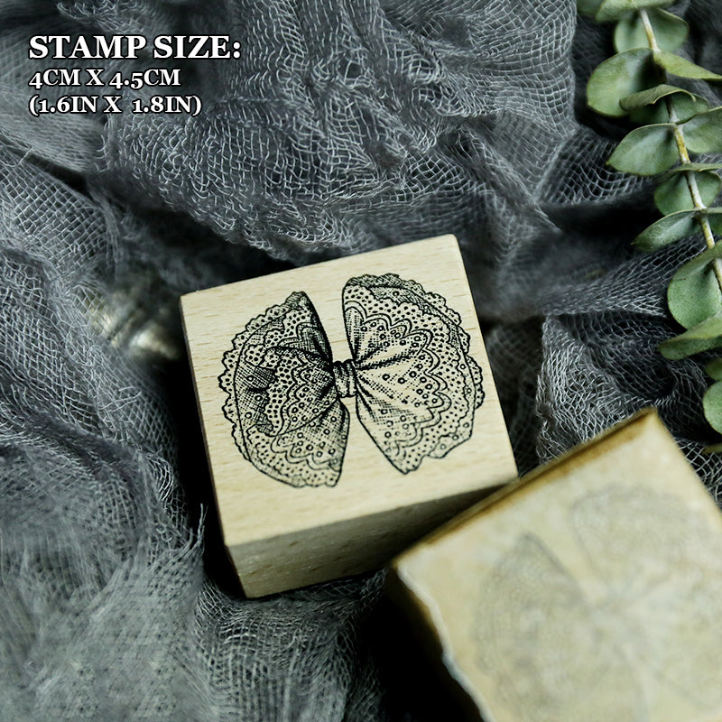 Frilled Bow Wooden Stamp