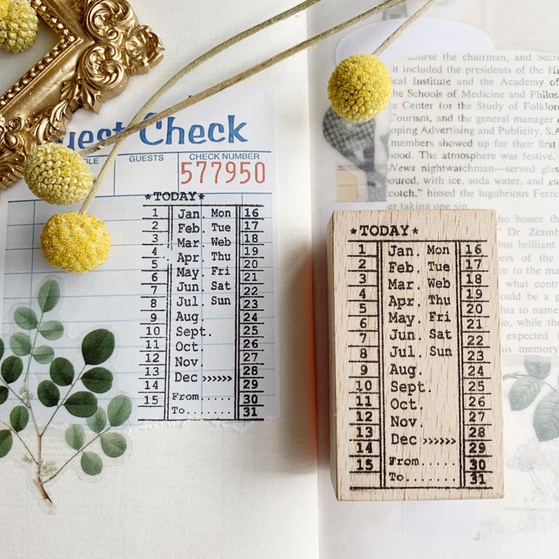 Vintage Bus Ticket Punch Card Wooden Stamps