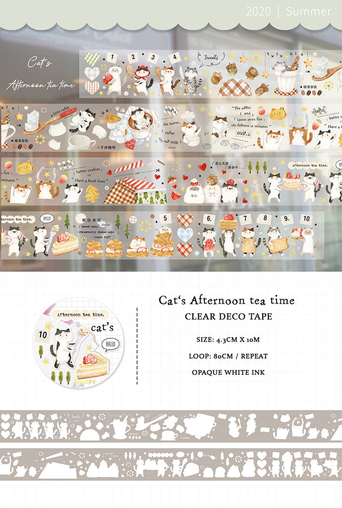 Cat's Afternoon Tea Time Washi Tape