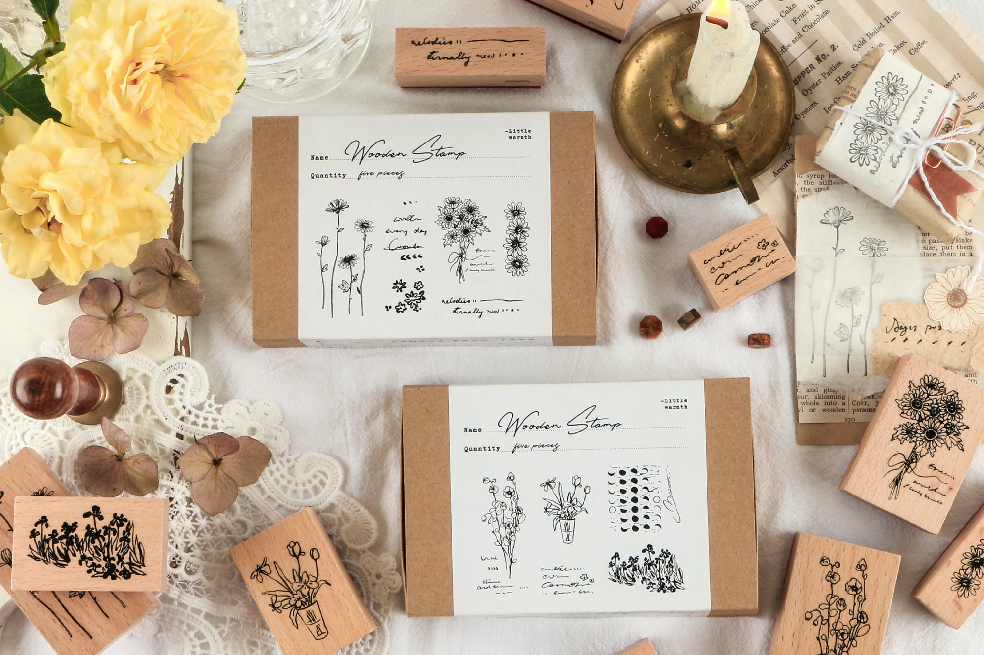 Flower Blossoms Wooden Stamps Set
