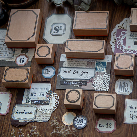 Frames and Labels Wooden Stamps