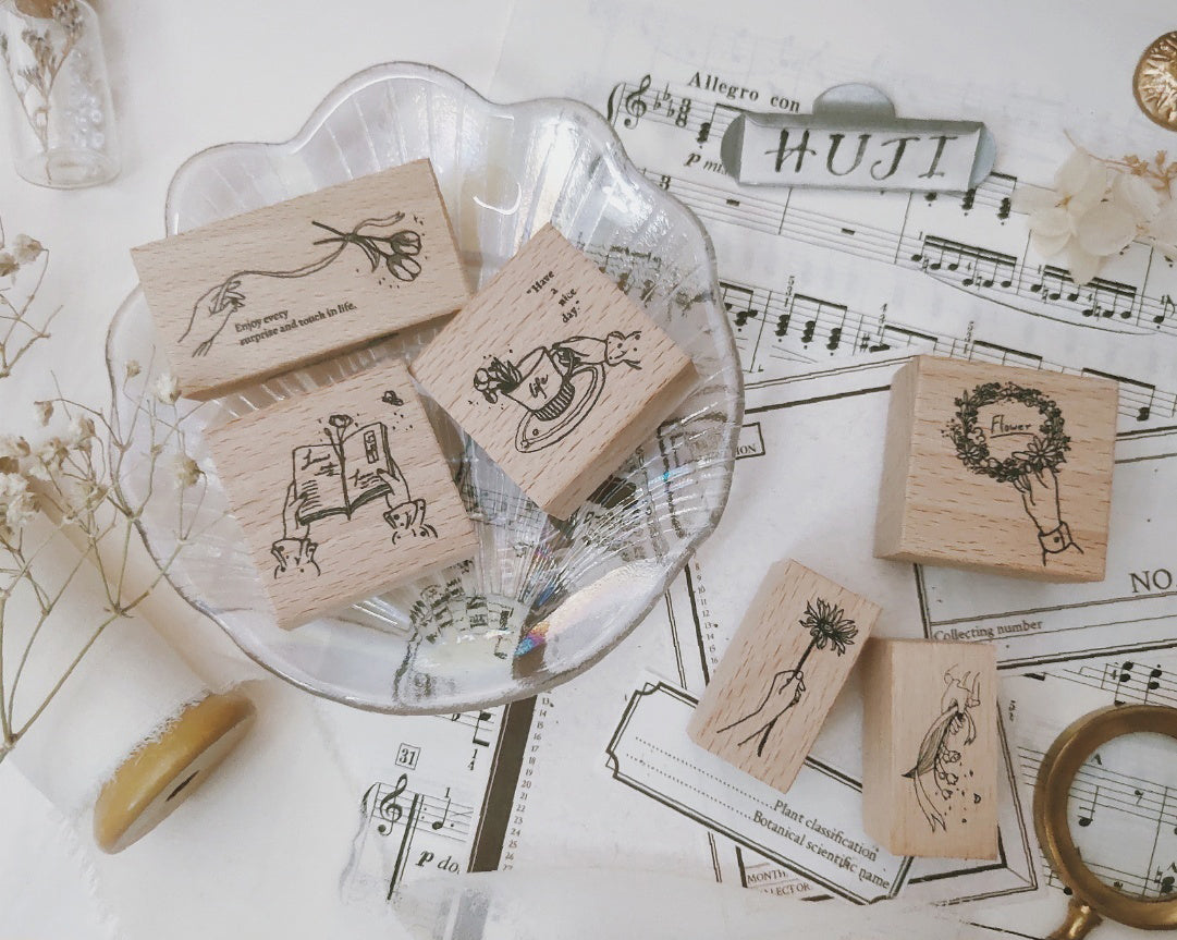 Flower Language Wooden Stamps