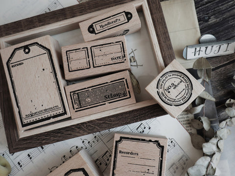 Vintage Mottled Labels Wooden Stamps