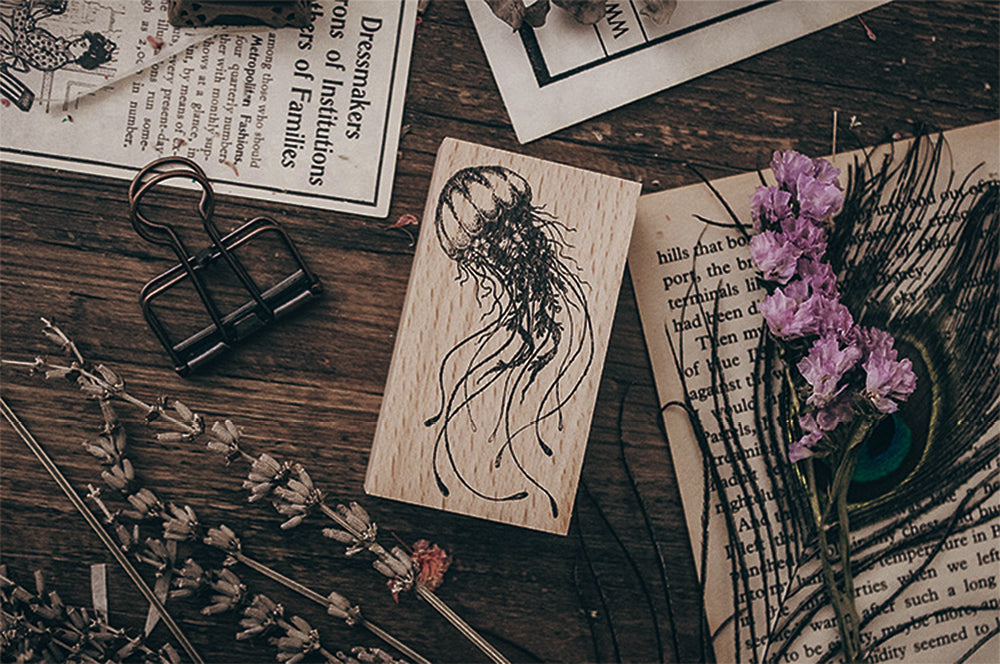 Floral Jellyfish Wooden Stamp