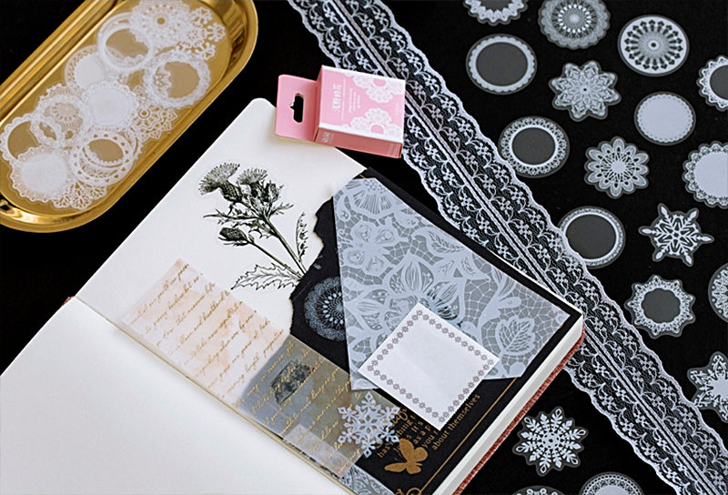 Clear Lace Box Sticker Set