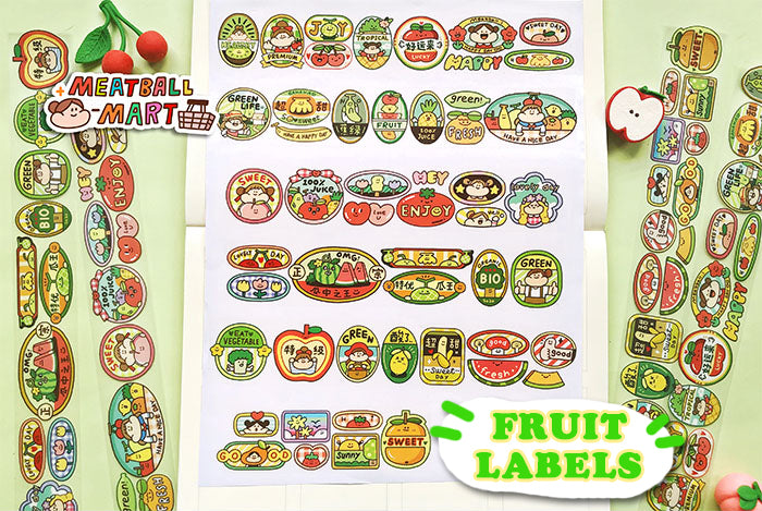 Meatball Washi Tape: Fruit Labels