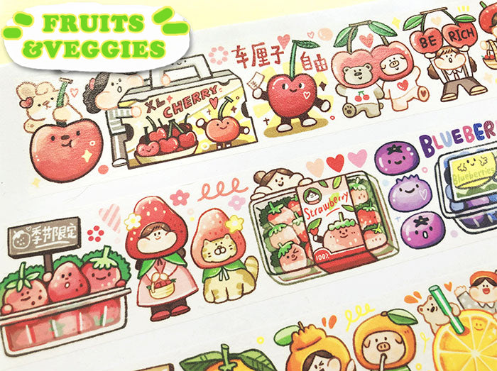 Meatball Washi Tape: Fruits and Veggies