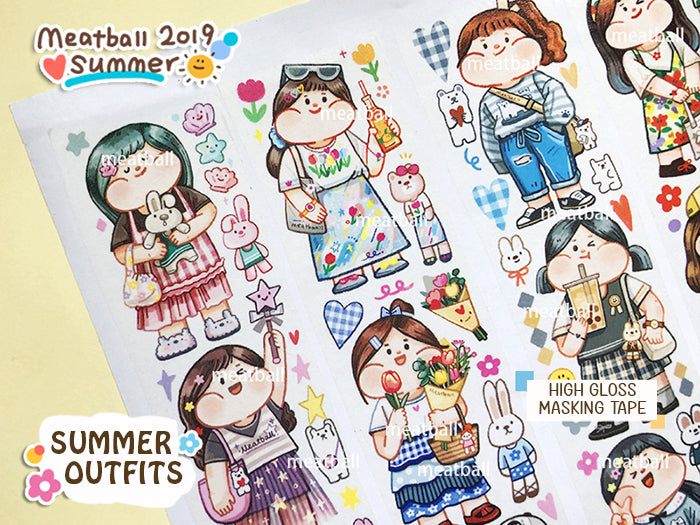 Meatball Washi Tape: Summer Outfits