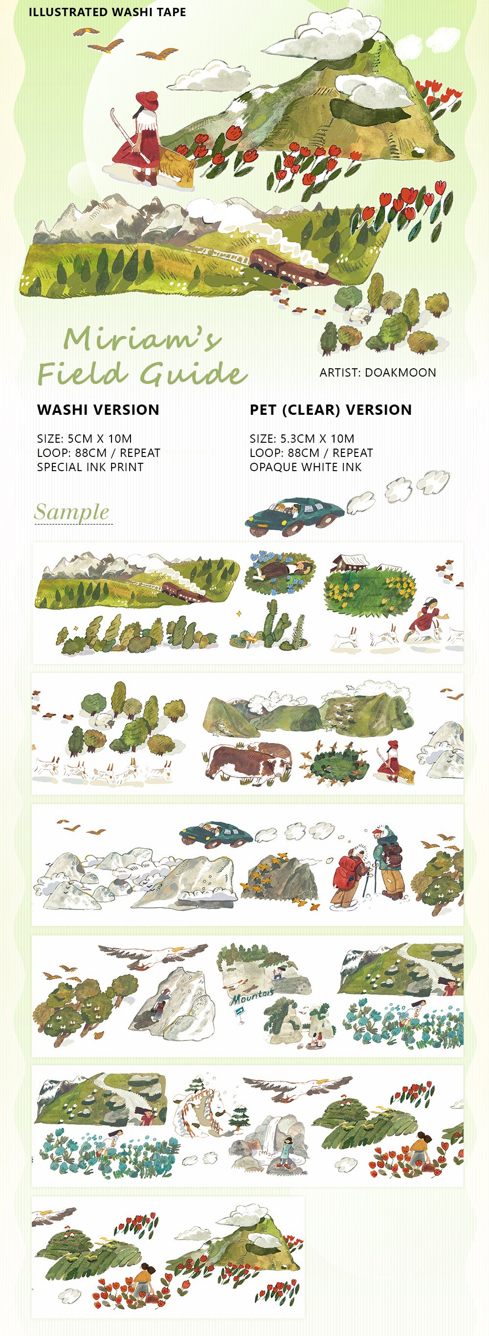Falling Land Studio Washi Tape: Miriam's Field Guide