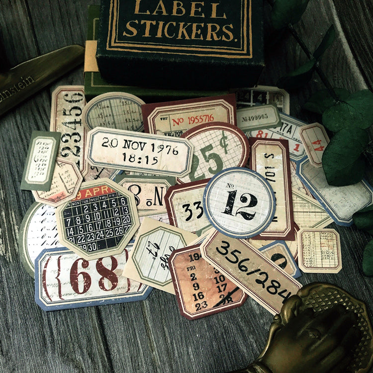Vintage Number Labels and Tags Stickers