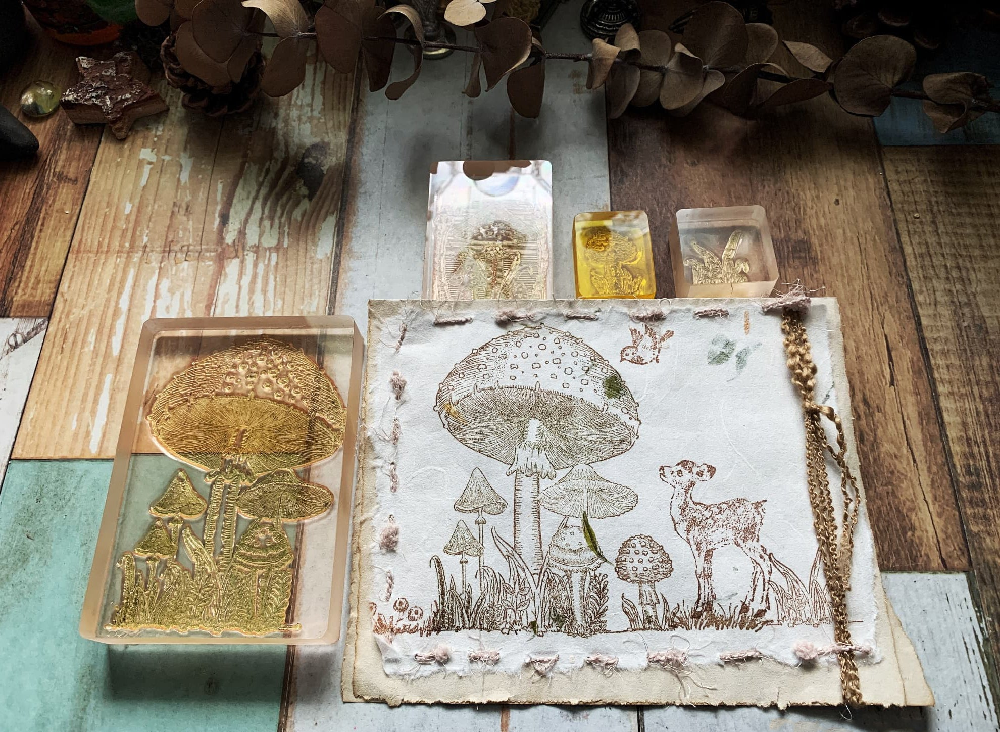 Extra Large Mushroom Colony Wooden Stamp,