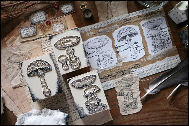 Mushrooms Wooden Stamps Set