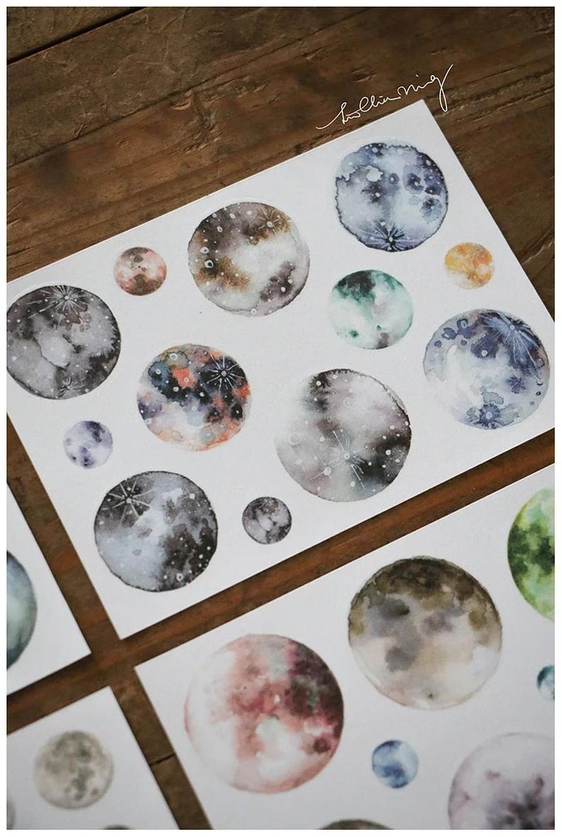 Watercolor Planets Sticker Sheets