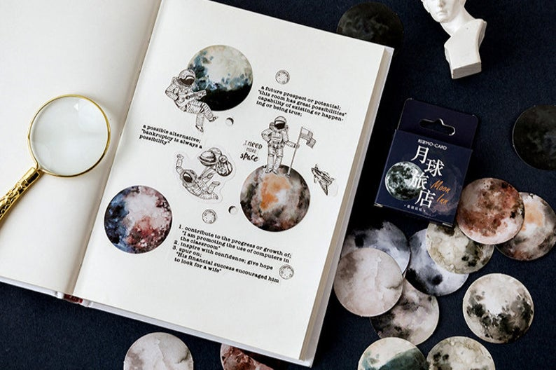 Moon View Box Sticker Set