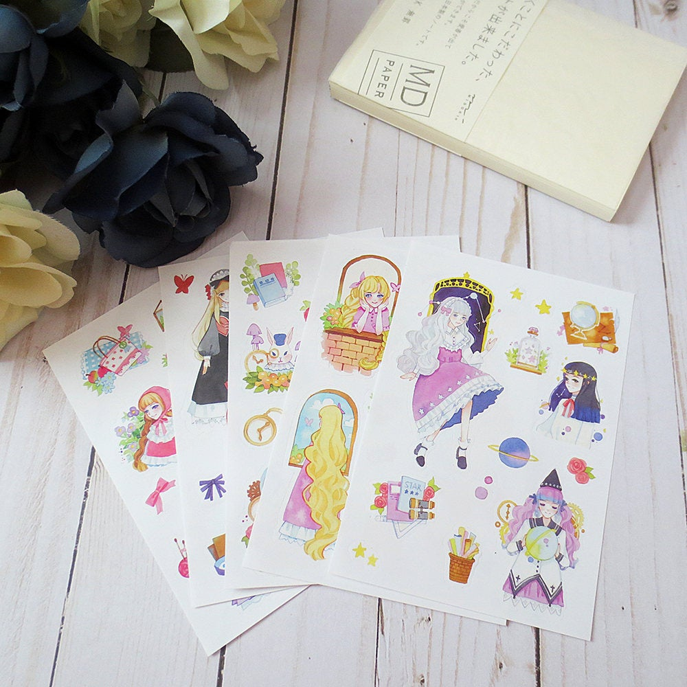 Fairytale Planner Sticker Sheet,  Kiss-cut girls stickers, planner stickers, sticker set