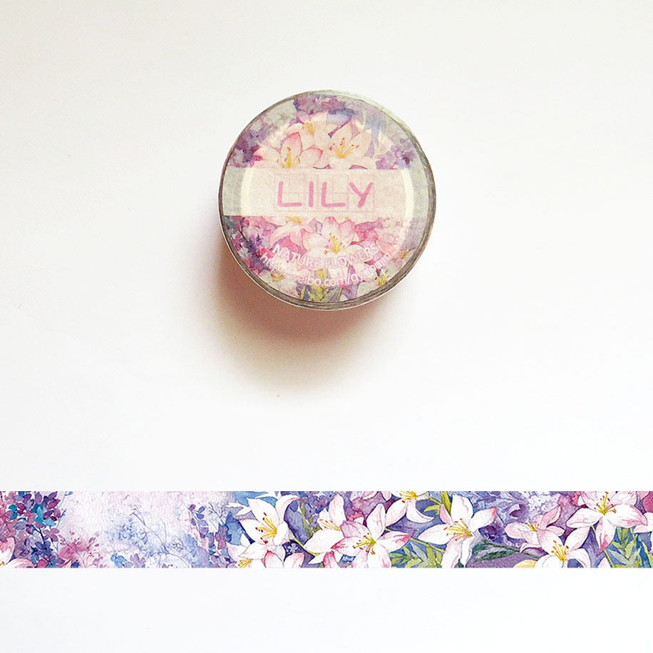 Lily Washi Tape, Flower Washi Tape Roll, Floral Masking Tape, Scrapbook Supplies, Deco Tape Scrapbook