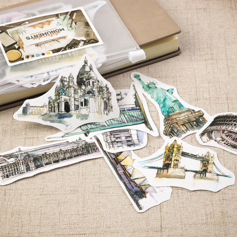 Travel Sticker Pack,  Watercolor World Monument, Traveler's Notebook Stickers, Wanderlust, Explore Scrapbook Sticker Set