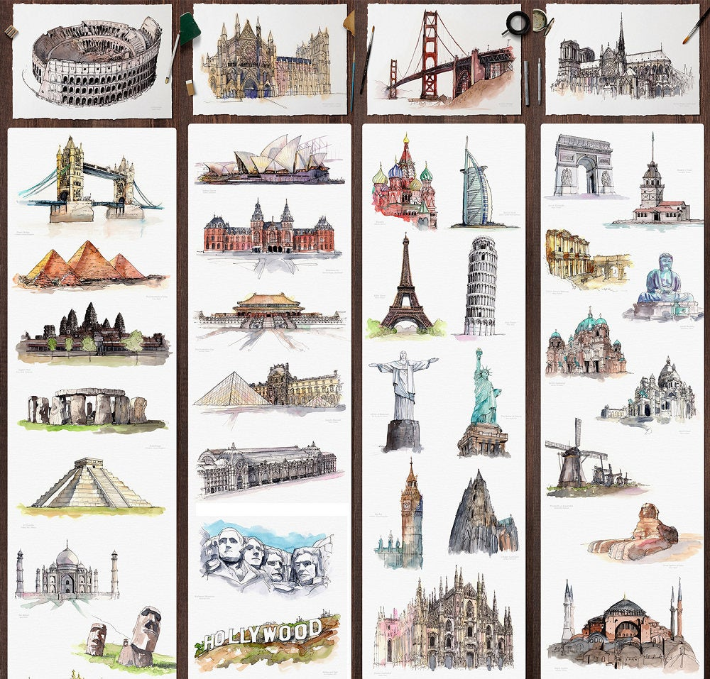 Travel Sticker Pack Watercolor World Monument Travelers Notebook