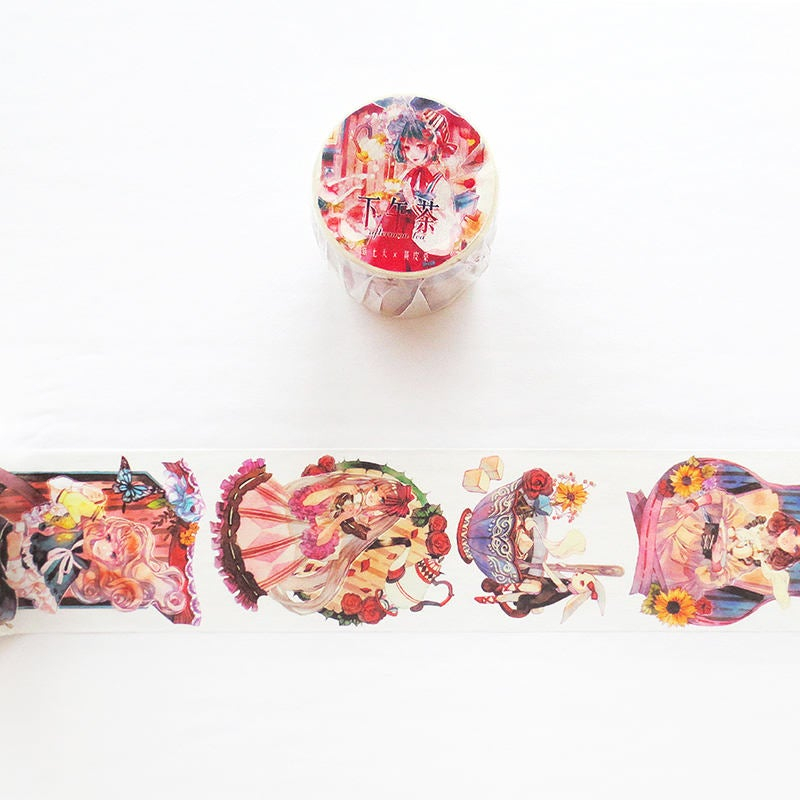 Afternoon Tea Washi Tape, Original Girl Illustration Washi Roll, Masking Tape, Tea Party Deco Tape