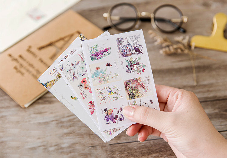 Vintage Flower Stamp Stickers,  Snail Mail Sticker Pack, Scrapbook, Planner Sticker Pack