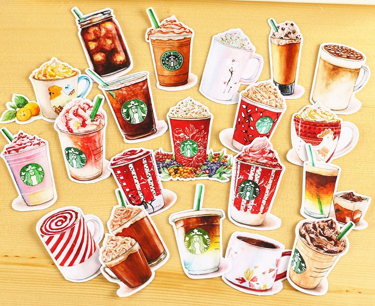 Starbucks Winter Drinks Sticker Pack, Cappuccino, Mint Latte, Mocha Stickers, Beverage Die-Cut Sticker, Sticker Flakes