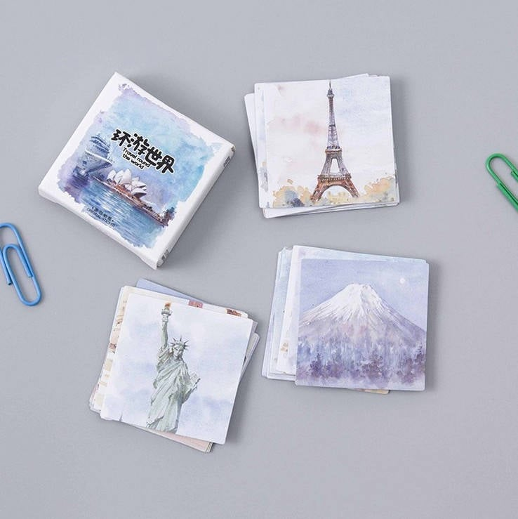 Travel Sticker Set,  World Travel Monuments Stickers Pack, TN, Wanderlust, Traveler's Notebook Sticker Pack