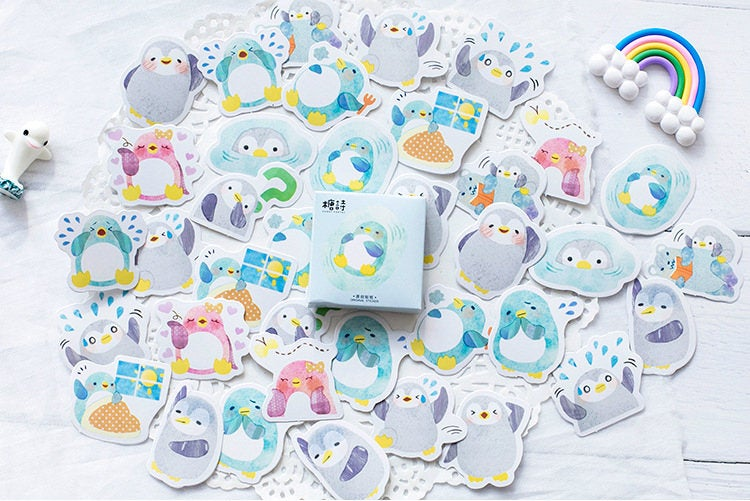 Penguin Sticker Set,  Cute Animal Stickers, Sticker Flakes, Kawaii Planner Sticker Pack