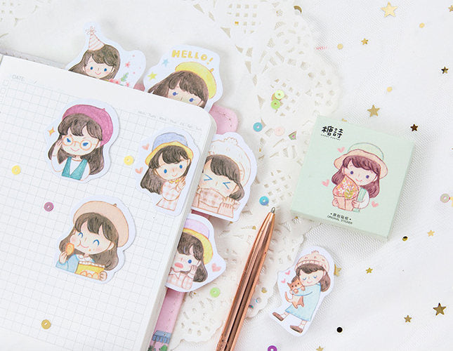 Girl Emoji Sticker Set,  Girls Daily Life Planner Stickers, Sticker Flakes, Kawaii Planner Sticker Pack