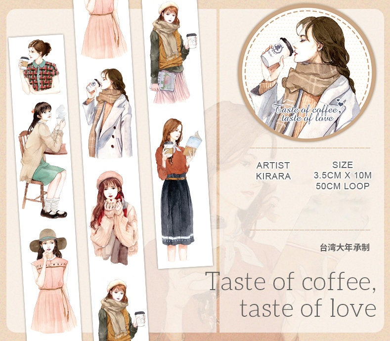 Kirara Washi Tape: Taste of Coffee Taste of Love