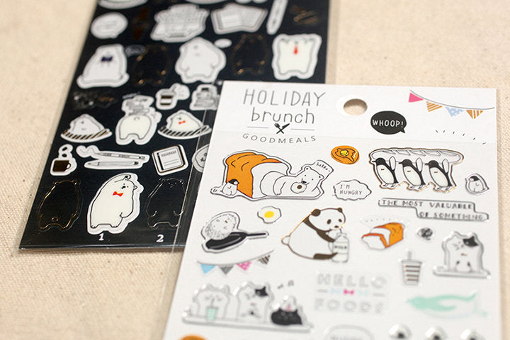 Mindwave Polar Bear Sticker Sheet, MW Food, Animals stickers, Japanese Sticker Seal, Panda, Penguin