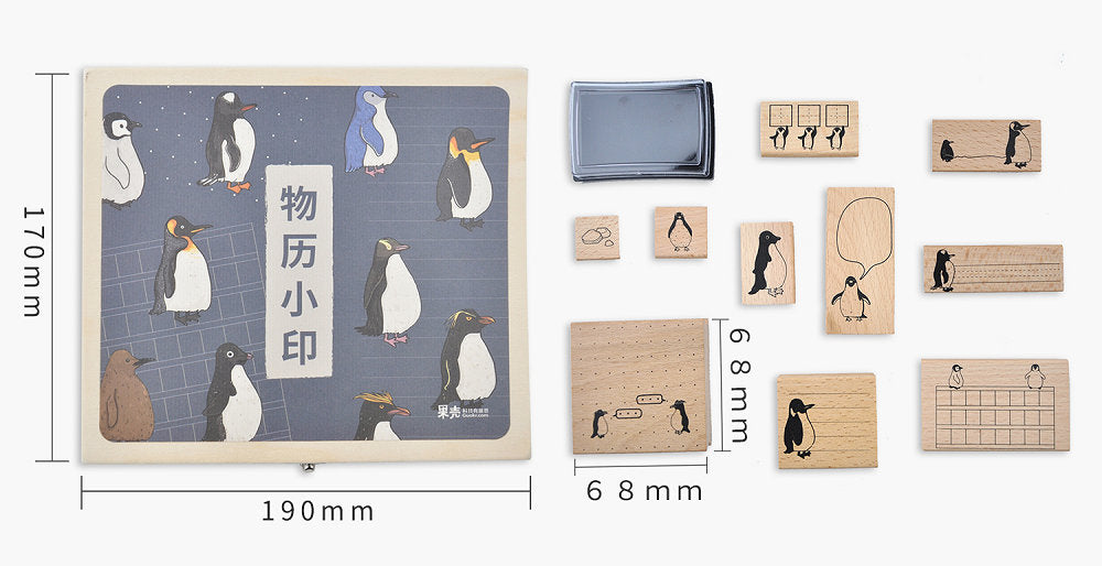 Penguin Notes Wooden Stamp Set