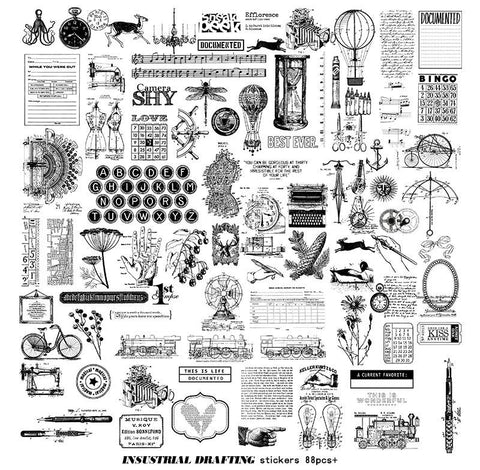 88PCS Industrial Drawing Translucent Stickers Pack, Vintage Journal, Ephemera, Junk Journaling Kit, Planner, Scrapbooking, Typewriter
